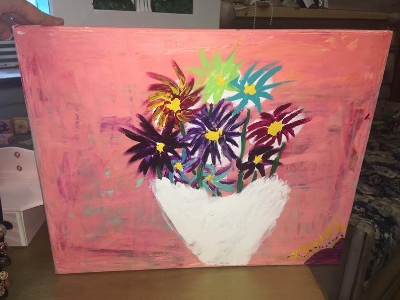 Finger painted flowers