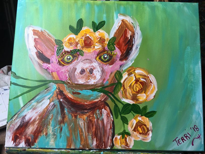 Pig with Flowers Palette Knife and Finger Painting