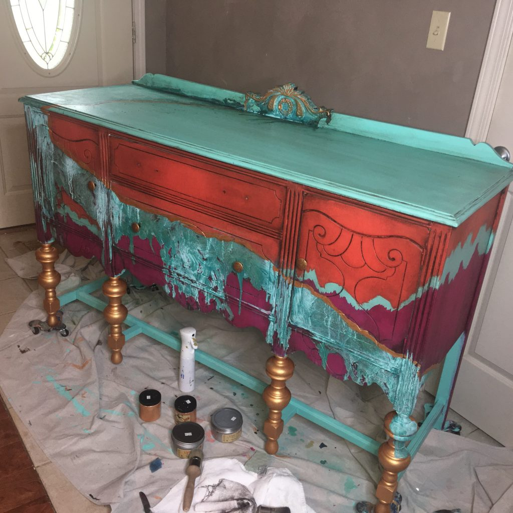 adding black wax to painted furnituer