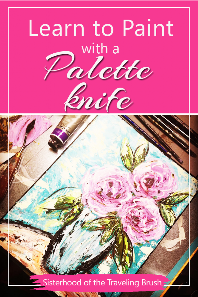 how to paint palette knife roses, palette knife tutorial, acrylic painting tutorial
