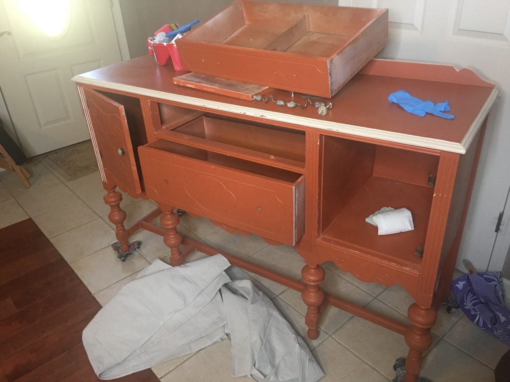 before and after buffet painting, preparing a buffet for paint, furniture prep