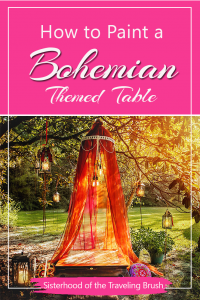 Boho table, floor seating, table furniture, bohemia map, painting contest