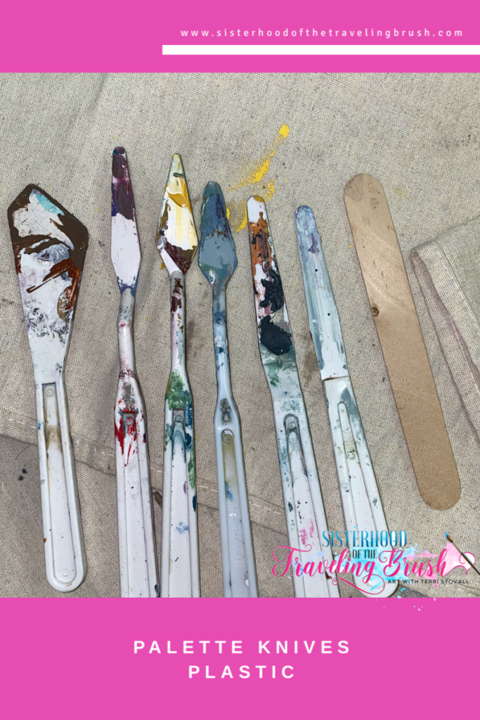 Plastic palette knives, mixed media supplies, palette knife painting