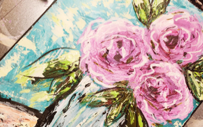 Learn to Paint Palette Knife Abstract Roses on Canvas. Video Tutorial.
